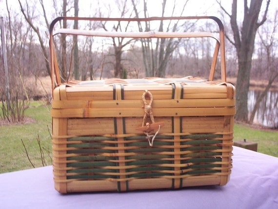 Wicker and Bamboo Vintage Sewing Box with Handle