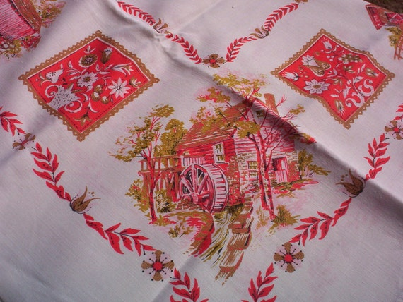 Vintage Linen Tablecloth, Home Print In Red & Pink