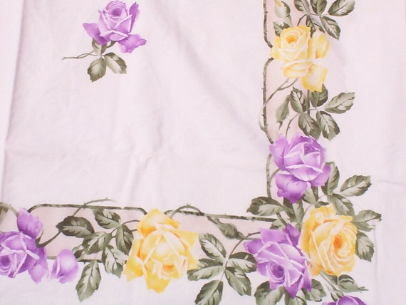 Roses In Purple & Yellow Tablecloth, Square Blooming Tablecloth