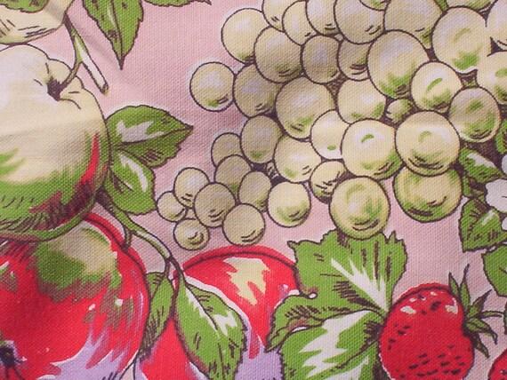 Paris Fruits Tablecloth on Pink Background Signed Paris