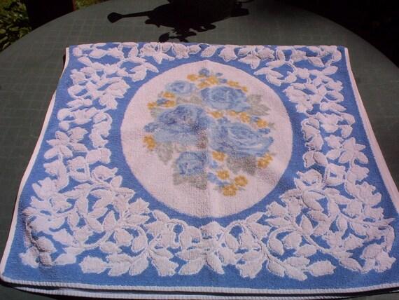 Vintage Bath Towel, Cameo Rose Blue By Martex