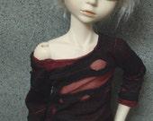 45cm BJD Red Black Pullover Torn Shirt MSD