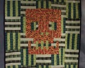 60x72in Flame Skull and Lime Quilt