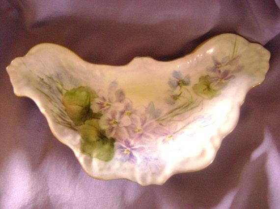 Gorgeous Porcelain Bone Dish Violet Pattern