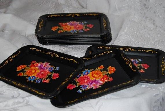 Vintage Floral Snack Trays Set of 12