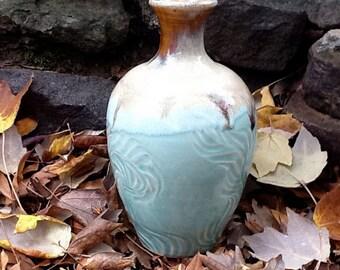 Hand Carved Aqua and Cream Vase