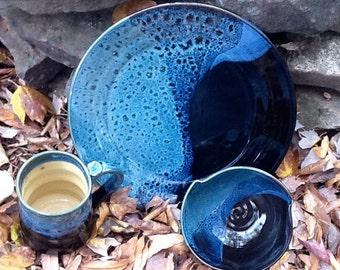 A Single Serving Set of a Mug, Plate, and Bowl