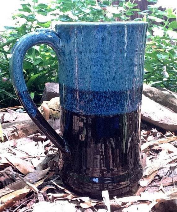 A Mid Sized Blue and Black Tankard or Stein