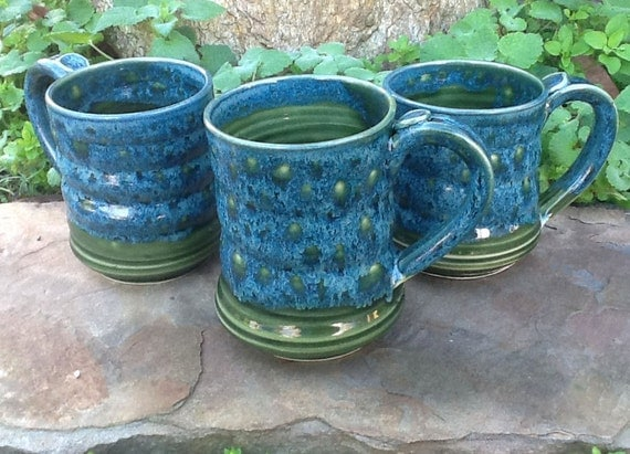 A Small Blue and Green Mug - SALE