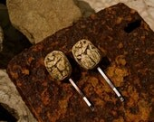 Set of Two Hand Carved Egyptian Scarab Beetle Hair Clips