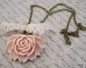 Vintage Pale Pink Single Rose Pendant Necklace on Antique Brass Chain