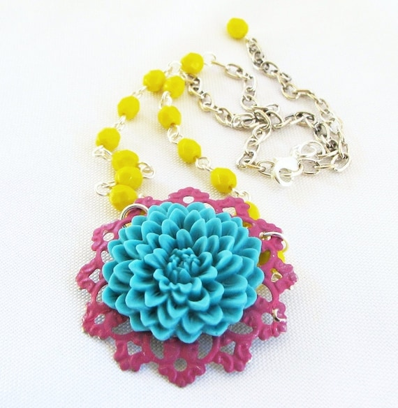 Colorful Trendy Necklace - Turquoise Fuschia Pendant - Yellow Czech Beads with Silver Plated Chain