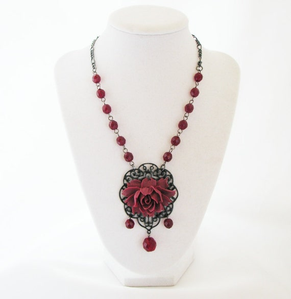 Burgundy Red Rose Necklace - w/Czech Beads, Black Filigree Lace  w/Matching Earrings