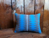 Native American Pendleton Throw Pillow, Wool Blanket Fabric, Turquoise
