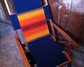 SALE Vintage Indian Summer Chair, Large Reclining Wood Deck, Pendleton Fabric