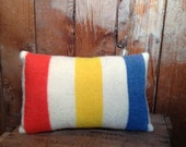 SALE Vintage Camp Blanket Throw Pillow, Wool Fabric, Striped