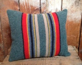SALE Pendleton Pillow, Yakima Camp Blanket Throw, Wool Fabric, Striped, Muted Green