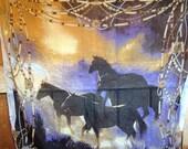 Vintage Oversized Horse Scarf, 40 x 40