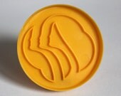 Vintage Round Girl Scout Yellow Plastic Cookie Cutter