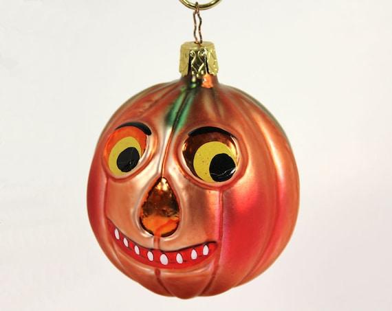 Halloween Jack o' lantern German Glass Christmas Ornament Vintage