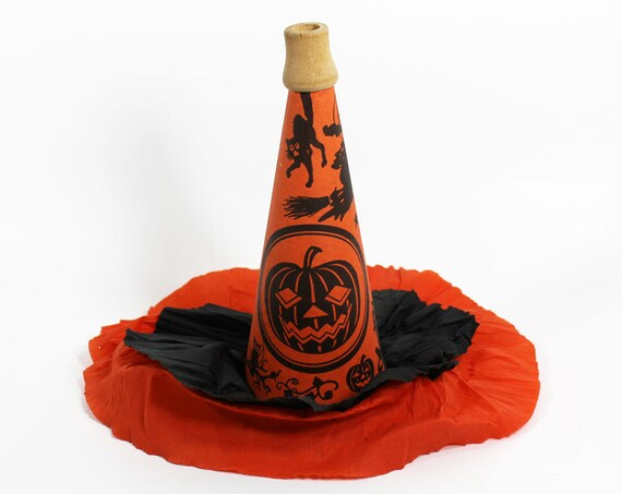 Cardboard Halloween Hat Horn with Crepe Paper 1921 Marks Bros. Co.
