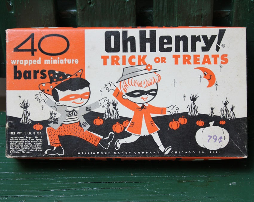 Oh henry candy bar vintage halloween candy box by straysquirrels
