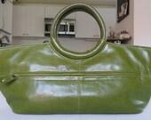 SALE Green leather handbag purse tote