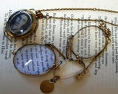 SALE free shipping - Upcycled vintage pince nez eyeglasses Poetic Necklace - Emily Dickinson quotation HOPE