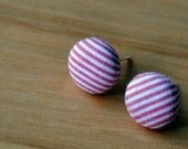 stripy red fabric button earrings- buy 3 get 1 bonus