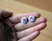 i love you fabric button earrings- buy 3 get 1 bonus