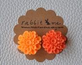 Sunny orange tangerine flower cabochon resin magnets set of 2