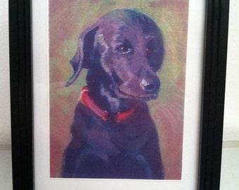 "Black Labrador high quality print in a 5""x7"" frame"