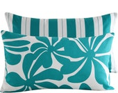 """Decorative Pillow Cover: 12"""" x 20"""" Lumbar . Floral with Stripes . Turquoise Blue and White . Twirlies of Turquoise"""