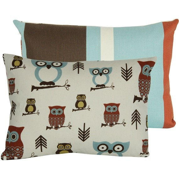 """SALE Decorative Cushion Pillow Cover 12""""x16"""" Travel Pillow, Nap Pillow,  Brown Blue Green and Rust, Olive the Owls Collection,"""
