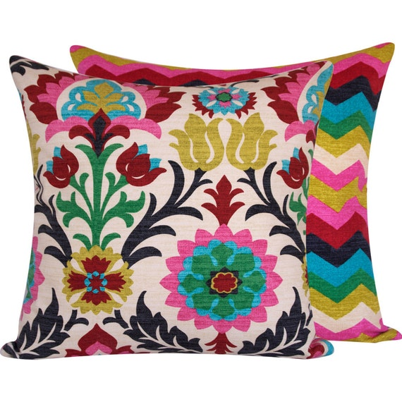 Colorful Pillows For Sofa: Floral Colorful Throw Pillow Cover 20x20 By