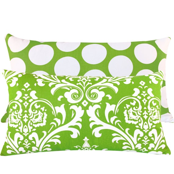 Chartreuse Green Reversible Pillow Cover 12x20 Flips to Damask or Dots, Throw Pillow, Cushion Cover, Accent Pillow - Key Lime Pie Collection