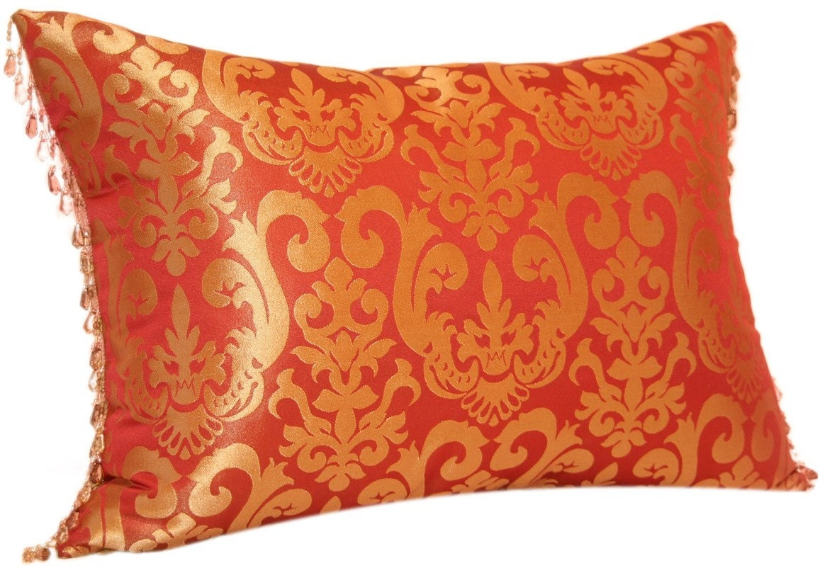 Throw Pillows Red And Gold : SALE Red and Gold Decorative Pillow with Bead Lumbar Jacquard