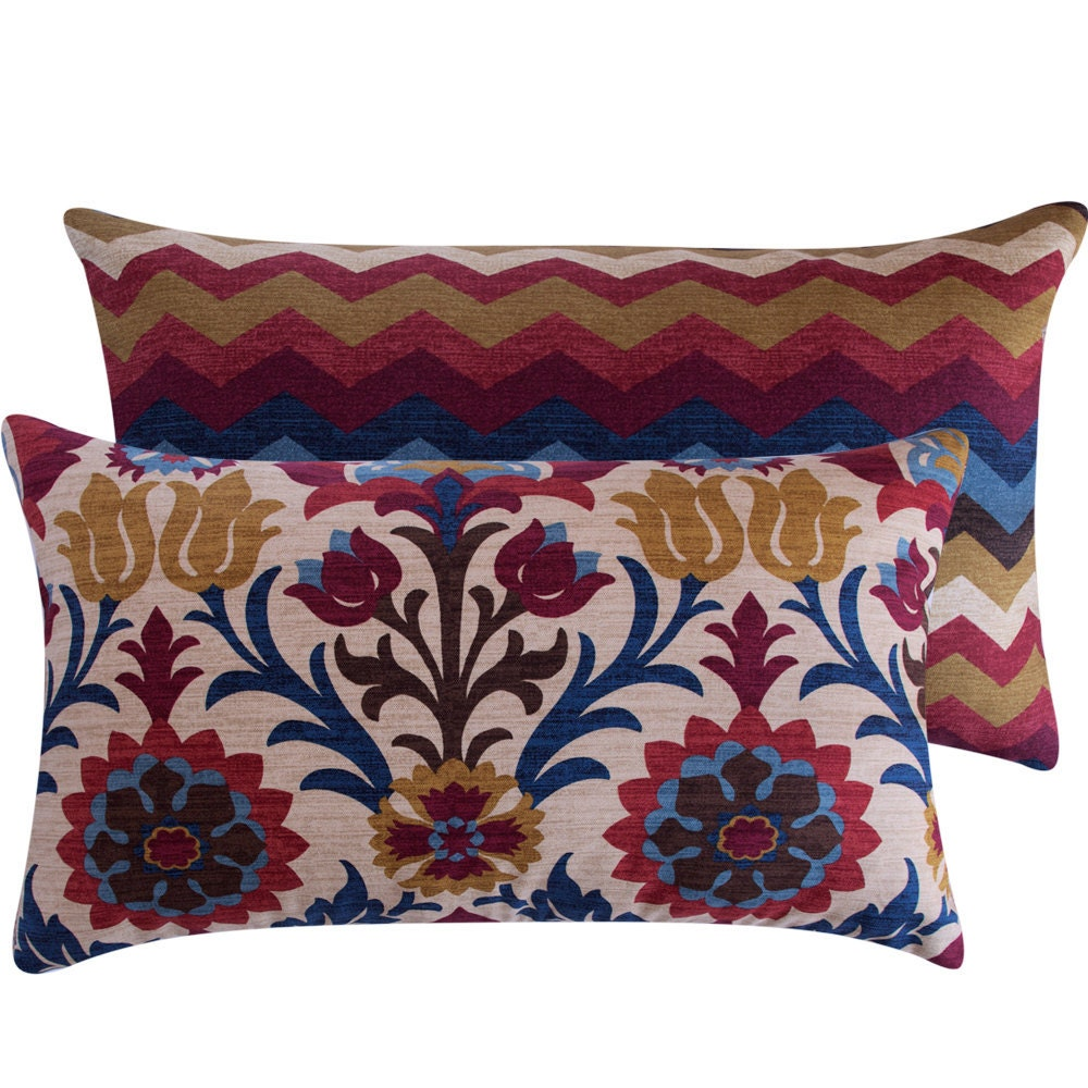 pillow floral chevron blue and red decorative cover 16x26