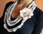 Crochet necklace in Grey and Cream Fiber / Scarf/ with  Cream Flowers