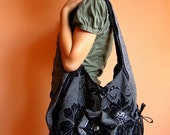 Hand Crafted Messenger Bag X Large Tote/Messenger Bag with Floral Pattern by Marie's Original design