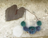 Crochet Necklace with Circles in Teal, Light Blue and Purple..Lace Necklace