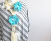 Cream Crochet scarf  soft white felt with  two Aqua Flowers Brooch rustic, soft and sparkling handmade enchanted scarf