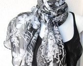 Black, White, Gray Silk Chiffon Scarf...Tissu...Extra Large Scarf .Japanese traditional Flowers for Woman or Teen