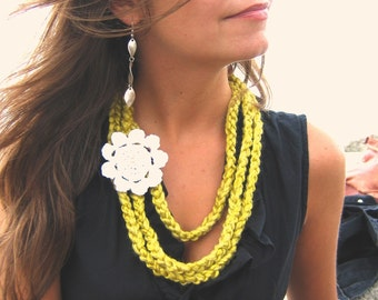 Mustard  Crochet Necklace - Yellow Mustard Crochet Strand Necklace with White Flower