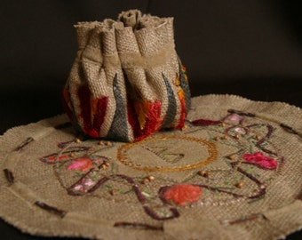 "Linen handmade embroidery and applique   Mandala Runic ""The Woman"""