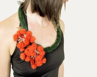Felt necklace with two crochet rustic orange flowers bloom