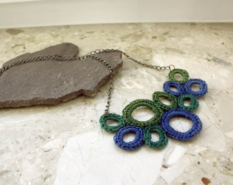 Circles crochet Necklace in Blue and Green with chain - lace statement necklace Wearable art Crochet Pendant
