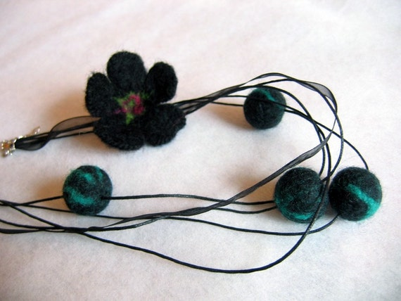 Black  Felt necklace with flower and balls