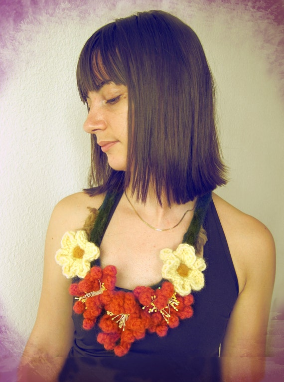 Wood Nimph..crochet and felt necklace with  flowers bloom