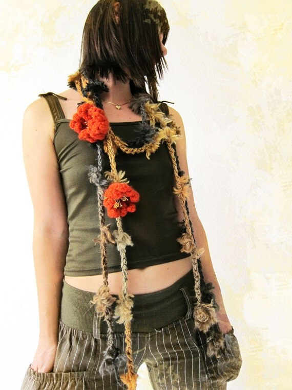 Crochet Necklaces..scarves - 2 pcs - Discounted Price in Chocolate beige grey with two Pumpkin flowers brooch